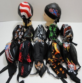 Wholesale Headwear, Biker Hats Caps - BN207. Assorted Leather-Like Skull Caps