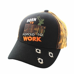 Wholesale Hunting Hats and Caps in Bulk - Born to Hunt Forced to Work Velcro Cap (Black & Orange Camo) - VM262