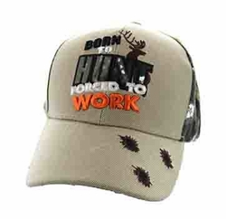 Wholesale Hunting Hats and Caps in Bulk - Born to Hunt Forced to Work Velcro Cap (Khaki & Hunting Camo) - VM262