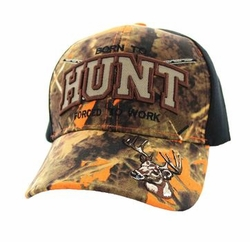 Wholesale Hunting Camouflage Embroidered Baseball Hats Caps Cheap Bulk - Born to Hunt Forced to Work Velcro Cap (Orange Camo & Black) - VM181