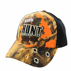 Wholesale Hunting Hats and Caps in Bulk - Born to Hunt Forced to Work Velcro Cap (Orange Camo & Black) - VM262