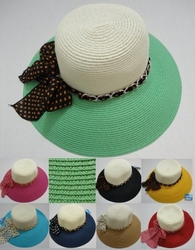 Wholesale Fashion Hats - HT802. Ladies Two-Color Summer Hat with Polka Dot Bow