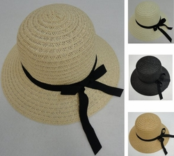 Wholesale Hats and Caps in Bulk - HT1524. Ladies Round Woven Summer Hat w Long Ribbon