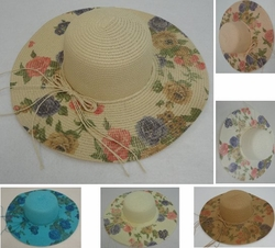 Wholesale Hats and Caps in Bulk - Fashion -HT1527. Ladies Woven Summer Hat [5 Printed Floral Brim]