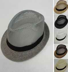 Wholesale Hats and Caps in Bulk - Fashion -HT1530. Paper-Straw Fedora Hat [Mesh Weave]