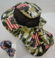 T Shirts Hats Wholesale Bulk Supplier Hunting Clothing Apparel - HT1576. Cotton Boonie Hat with Cloth Flap [Mesh]