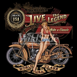 Wholesale T Shirts, Wholesale Hats, Biker T Shirts Cheap Online Sale At Wholesale Prices - 15194-13x13-american-heritage-live-legend-ride-classic-made-us