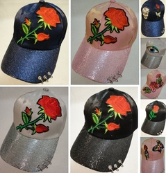 Wholesale T Shirts, Wholesale Hats, Bulk Wholesale Products Resale Flea Market Online Suppliers - HT1101. Ladies Sparkle Hat [Asst Applique] Rings on Bill