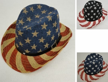 Wholesale T Shirts, Wholesale Hats, Bulk Wholesale Products Resale Flea Market Online Suppliers - HT1536. Flag Cowboy Hat [Hatband with Stars]
