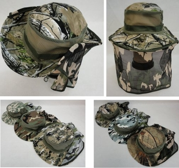 Wholesale T Shirts, Wholesale Hats, Bulk Wholesale Products Resale Flea Market Online Suppliers - HT1567. Floppy Camo Boonie Hat with Netting (Mesh Sides)