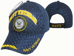 Clothing Caps Hats Wholesale Bulk Supplier Military - CAP592A Navy Vet Emblem Mesh Cap