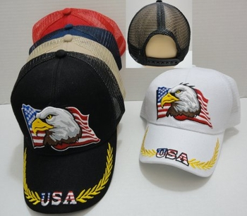 Wholesale Military Patriotic Hats and Caps Suppliers - HT31. USA Eagle Mesh Back Ball Cap