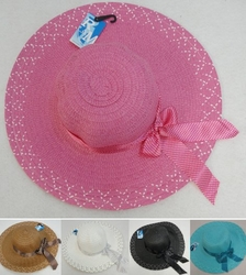 Wholesale Fashion Hats - HT329. Ladies Woven Summer Hat--Long Polka Dot Bow [Speckled Edge]