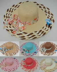 Wholesale Fashion Hats - HT856. Ladies Summer Hat [Braided Brim with Printed Bow]