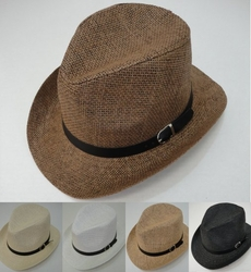 Wholesale Fashion Hats - HT858. Woven Cowboy Hat with Hat Band