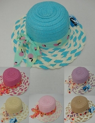 Men's Women's Adult Bulk Hats Wholesale - Fashion Hats For Men and Women Boutique - HT865. Girl's Summer Hat [Braided Brim with Polka Dot Bow]