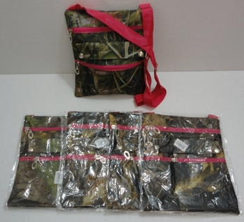 Realtree Hardwoods HD® Camo - Wholesale Bulk Supplier - PR162. Large Cross-Body Hand Bag [Hardwoods Camo Hot Pink Trim]