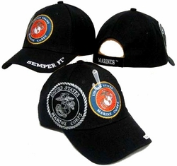 Wholesale Military Hats and Caps, CAP438Black - B. Military Embroidered Acrylic Cap