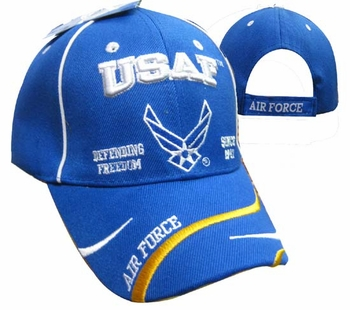 Wholesale Products - Air Force Apparel Military Wholesale T Shirts Embroidered Logo Baseball Hats Caps Bulk Suppliers - CAP597E USAF AF Emblem Defend Freedom Cap