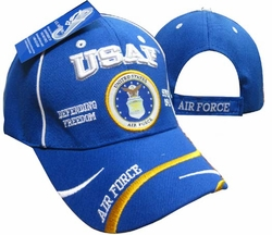 Wholesale Clothing, Shop Air Force Military Caps And Hats Cheap Wholesale Online Drop Shipping - Blue CAP597F USAF AF Emblem Defend Freedom Cap