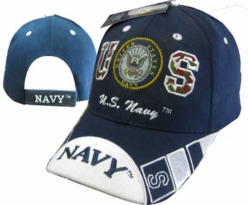 Wholesale Military Hats and Caps Suppliers - CAP602E Navy Emblem  NAVY Bill Cap