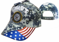 Clothing Caps Hats Wholesale Bulk Supplier Military - CAP602GC Navy Emblem  Flag on Bill Cap Camo