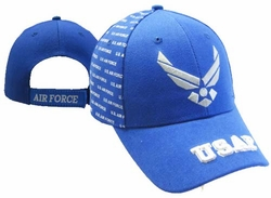 Bulk, Apparel - Wholesale T Shirts Custom Personalized Gifts, Air Force Hats - Military Hats Bulk Wholesale Cheap Discount Free Shipping - MSC Distributors - CAP597B AF Wings with USAF on Bill Cap