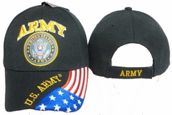 Clothing Caps Hats Wholesale Clothing, Men's Women's Adult Hats Wholesale Bulk US Military - CAP601G Army Emblem Flag Cap