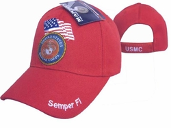 Cheap Wholesale Military Marine Corps Hats and Caps - Apparel Suppliers In Bulk - ECAP506Red-b. Military Embroidered Acrylic Caps