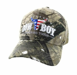 Men's Women's Adult Wholesale Men's Hats and Caps in Bulk - CowBoy Certified Tough Velcro Cap (Solid Hunting Camo) - VM074