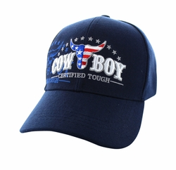 Men's Women's Adult Wholesale Men's Hats and Caps in Bulk - CowBoy Certified Tough Velcro Cap (Solid Navy) - VM074