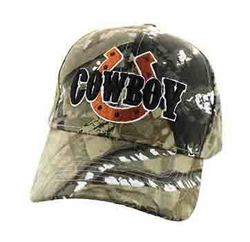 Wholesale Men's Women's Adult Hats and Caps in Bulk - Cowboy Velcro Cap (Solid Hunting Camo) - VM002
