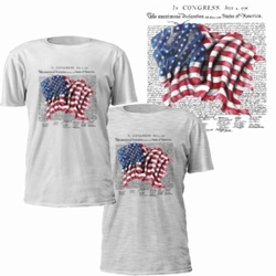 Patriotic Military Bulk, Wholesale T Shirts - Declaration with Flag T-Shirt