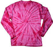 Wholesale Tie Dye Long Sleeve T-Shirts Spider Pink in Bulk, Wholesale Clothing and Apparel - MSC Distributors
