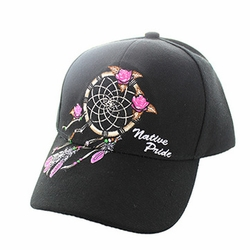 Wholesale Products - Native American Pride Logo Embroidered Baseball Hats Caps Cheap Bulk - Dream Catcher Velcro Cap (Solid Black) - VM635
