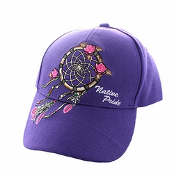 Wholesale Products - Native American Pride Logo Embroidered Baseball Hats Caps Cheap Bulk - Dream Catcher Bulk - Velcro Cap (Solid Purple) - VM635