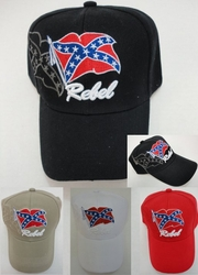 Rebel Baseball Caps Hats Wholesale Bulk Suppliers - HT75. Rebel Flag Hat-Shadow