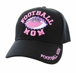 Sports Outdoors Embroidery Designs - For Women Wholesale Bulk Suppliers -Football Mom Velcro Cap (Solid Black) - VM452-01