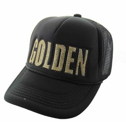 Sports Outdoors Embroidery Designs - For Women Wholesale Bulk Suppliers -Golden Trucker Mesh Cap (Black & Black) - SM740-01