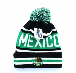 Embroidery Designs - For Women Wholesale Bulk Suppliers -Mexico Pom Pom Beanie (Black & Kelly Green) - WB071-93