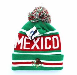 Embroidery Designs - For Women Wholesale Bulk Suppliers -Mexico Pom Pom Beanie (Kelly Green & Red) - WB071-95