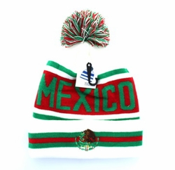 Embroidery Designs - For Women Wholesale Bulk Suppliers -Mexico Pom Pom Beanie (White & Red) - WB071-94