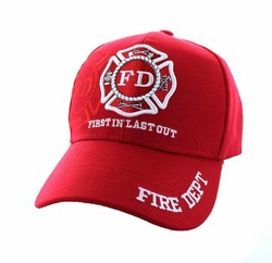 Wholesale Firefighter Supplier Hats Bulk - Velcro Cap (Solid Red) - VM062-04