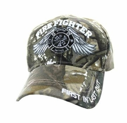 Wholesale Hats, Baseball Cap Fire Fighter Velcro Cap (Solid Hunting Camo) - VM519