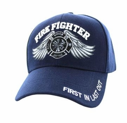 Wholesale Clothing Firefighter Men's Fashion Hats Embroidered Logo - Velcro Cap (Solid Navy) - VM519