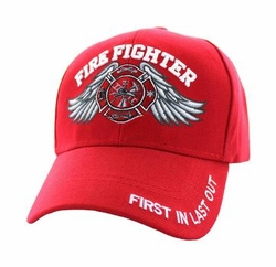 Wholesale Firefighter Supplier Hats Bulk - Velcro Cap (Solid Red) - VM519-03