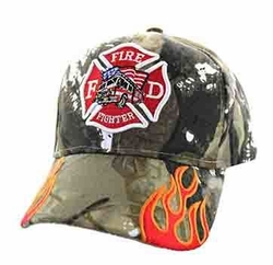 Firefighter Baseball Hats Wholesale - Truck Velcro Cap (Solid Hunting Camo) - VM440