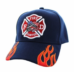 Firefighter Baseball Hats Wholesale - Adult Fire Logo with Truck Velcro Cap (Solid Navy) - VM440-04