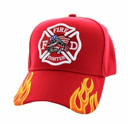 Firefighter Baseball Hats Wholesale - Truck Velcro Cap (Solid Red) - VM440-03