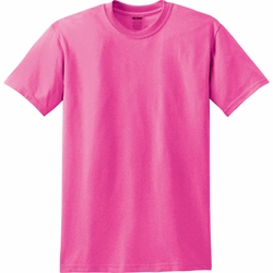 Short Sleeve T Shirts Men's Women's Clothing - Gildan Blank T Shirt - Safety Pink